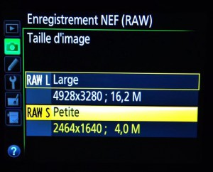 selection du format RAW-S sur Nikon D4s