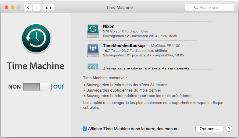backup time machine avec le NAS WD