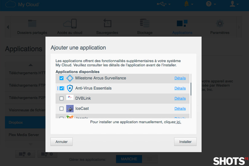 ajout application NAS WD My Cloud