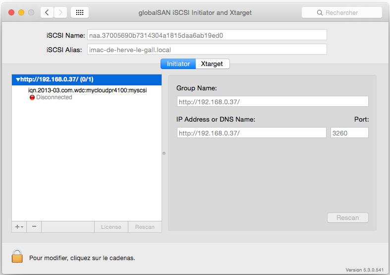 parametrage cible iscsi sur Mac