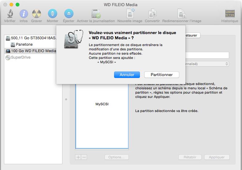 partition volume cible iscsi mac