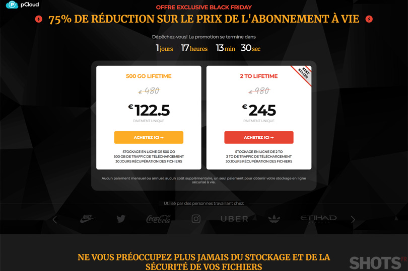 Solution pCloud lifetime 2To à 245€ pendant le black friday. Un grand oui !