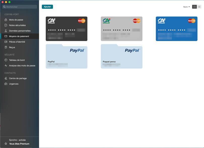 gestion des cartes bancaires avec Dashlane