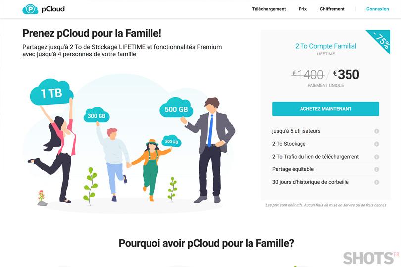 Offre famille pCloud. Le partage de la sécurité en famille.
