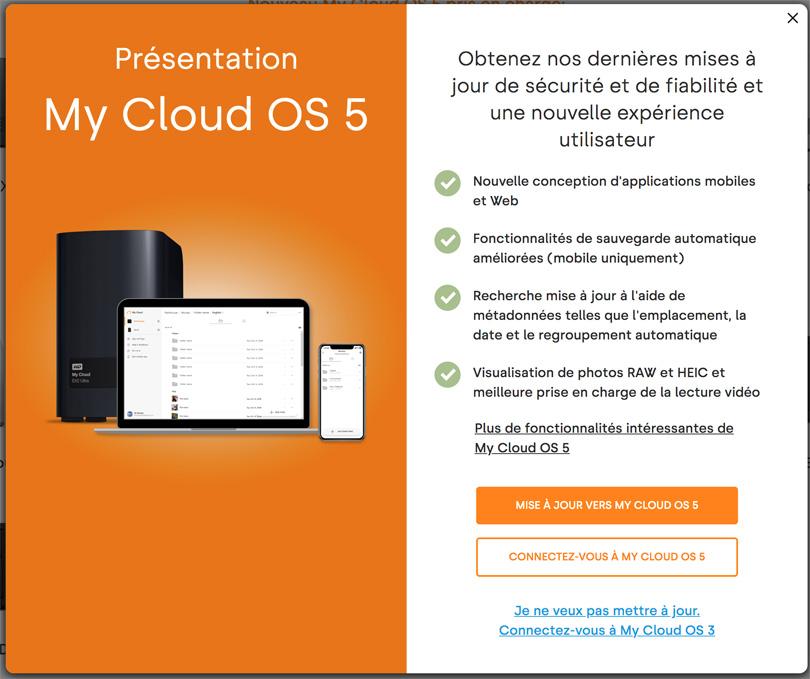 mise à jour My Cloud OS5 NAS PR4100
